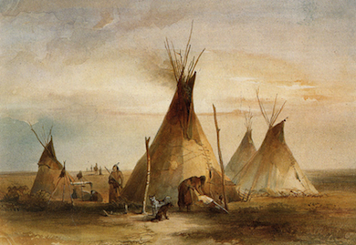 Watercolor on paper by Karl Bodmer from his travel to the U.S. 1832-1834 (Wikipedia)